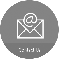"""Red circle with email icon and """"Contact Us"""" inside"""