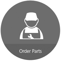 """Red circle with cartoon mechanic outline and """"Order Parts"""" text below"""