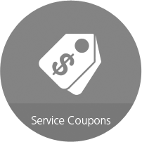 """Red circle with coupon clip art and """"Service Coupons"""" under them"""