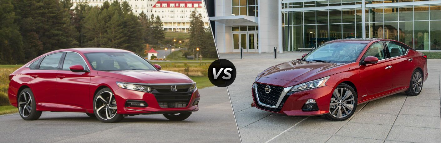 "Passenger side exterior view of a red 2019 Honda Accord on the left ""vs"" driver side exterior view of a red 2019 Nissan Altima on the right"