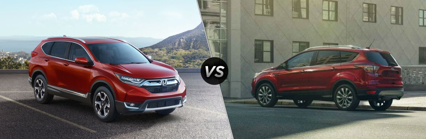 "Passenger side exterior view of a red 2018 Honda CR-V on the left ""vs"" driver side exterior view of a red 2018 Ford Escape on the right"