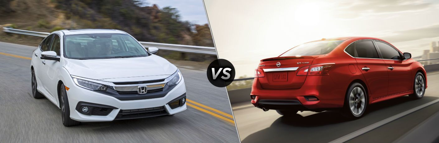 """Front exterior view of a white 2018 Honda Civic Sedan on the left """"vs"""" rear exterior view of a red 2018 Nissan Sentra on the right"""