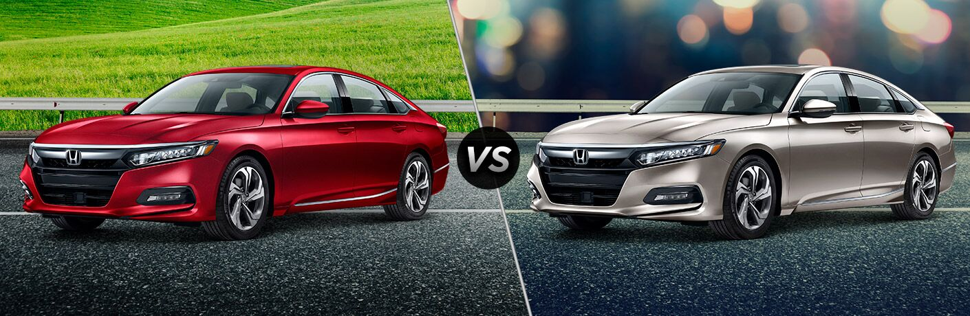 "Driver side exterior view of a 2018 Honda Accord EX on the left ""vs"" driver side exterior view of a 2018 Honda Accord EX-L on the right"