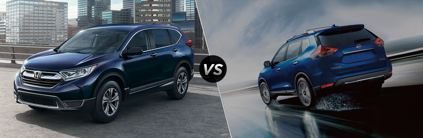 "Driver side exterior view of a blue 2018 Honda CR-V on the left ""vs"" rear exterior view of a blue 2018 Nisan Rogue on the right"