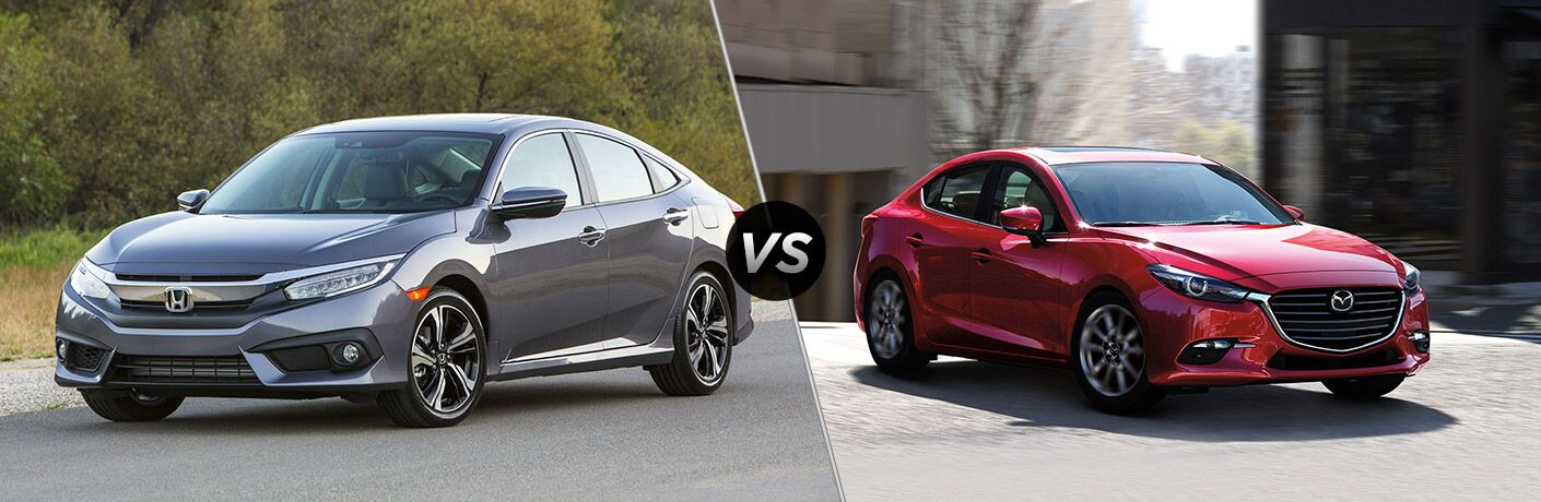 "Driver side exterior view of a gray 2018 Honda Civic Sedan on the left ""vs"" passenger side exterior view of a red 2018 Mazda3 4-Door"