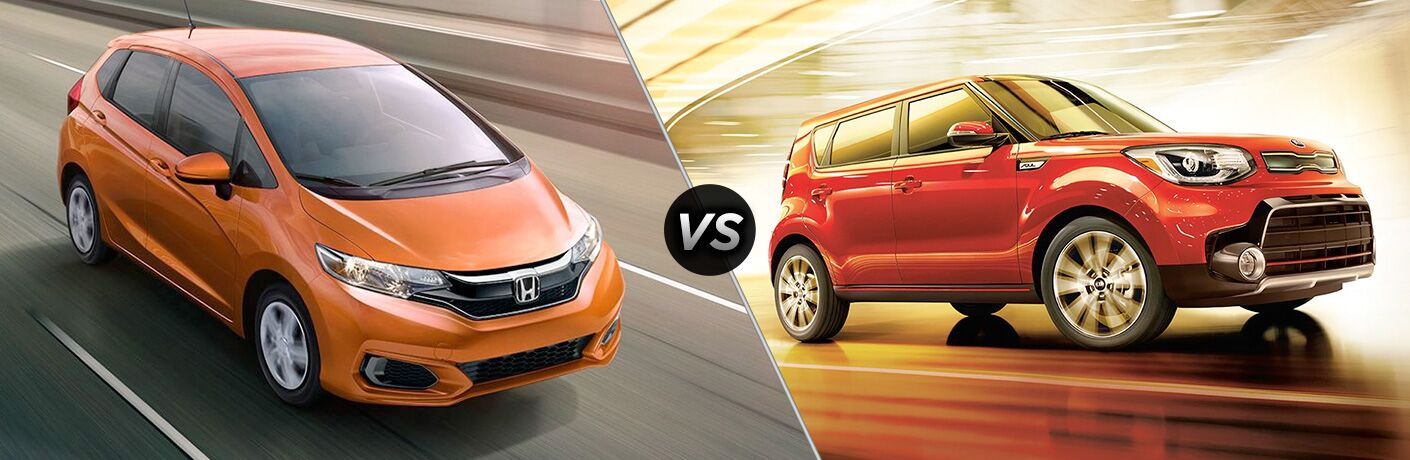 "Passenger side exterior view of an orange 2018 Honda Fit on the left ""vs"" passenger side exterior view of a red 2018 Kia Soul on the right"
