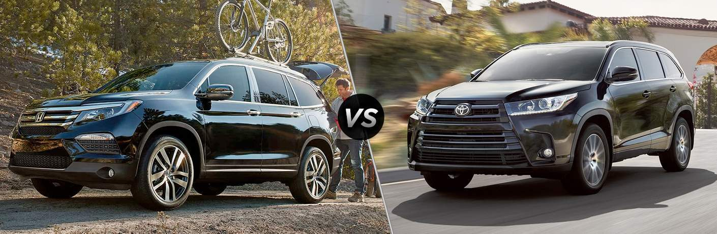 2018 Honda Pilot vs 2018 Toyota Highlander front exterior view of both vehicles