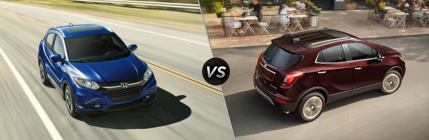 "Front exterior view of a blue 2018 Honda HR-V on the left ""vs"" passenger side exterior view of a red 2018 Buick Encore on the right"
