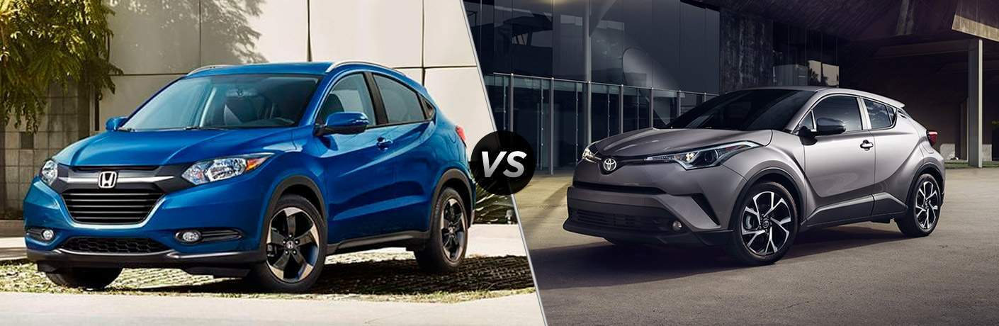2018 Honda HR-V vs 2018 Toyota C-HR front exterior view of both crossovers