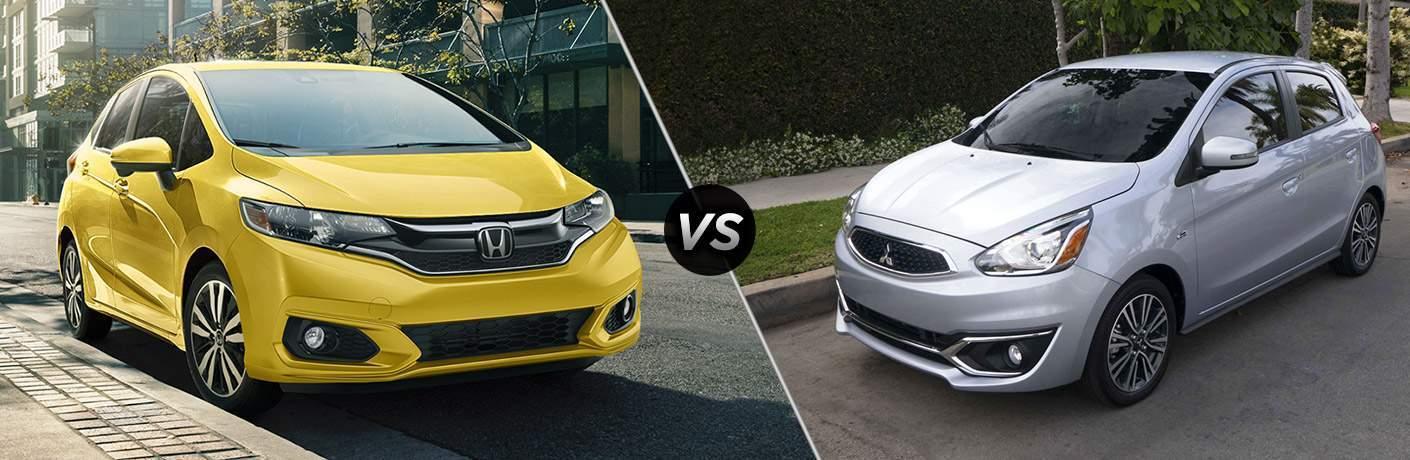 2018 Honda Fit vs 2018 Mitsubishi Mirage front exterior view of both cars
