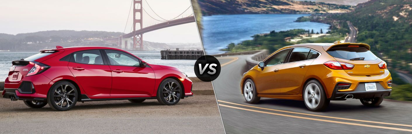 "Passenger side exterior view of a red 2018 Honda Civic Hatchback on the left ""vs"" driver side exterior view of an orange 2018 Chevy Cruze Hatchback on the right"