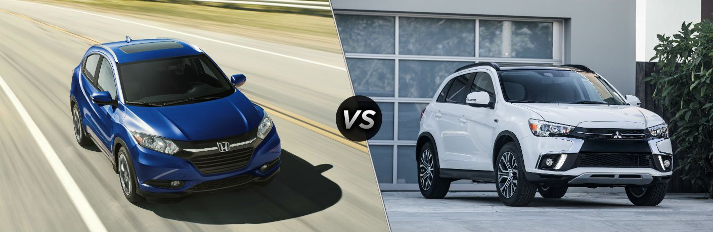 """Front exterior view of a blue 2018 Honda HR-V on the left """"vs"""" front exterior view of a white 2018 Mitsubishi Outlander Sport on the right"""