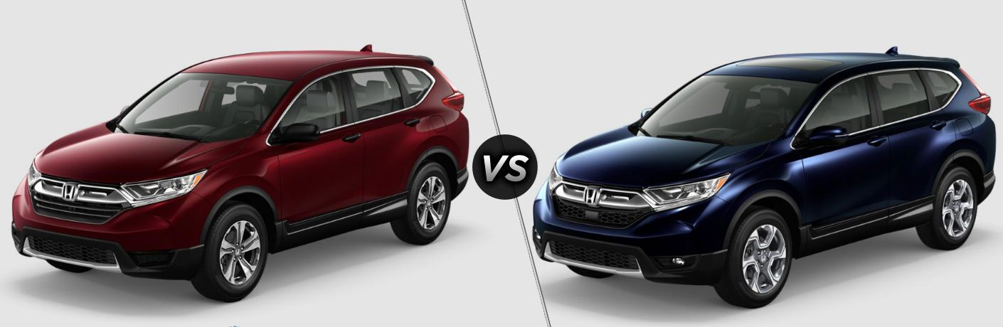 "Driver side exterior view of a red 2018 Honda CR-V LX on the left ""vs"" driver side exterior view of a blue 2018 Honda CR-V EX on the right"