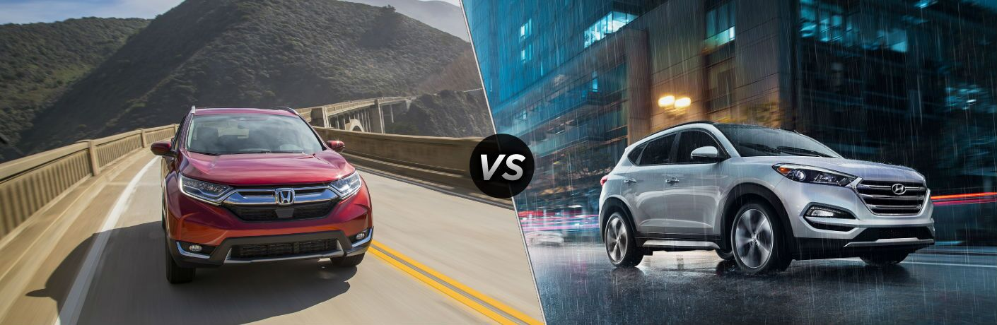 "Front exterior view of a red 2018 Honda CR-V on the left ""vs"" a passenger side exterior view of a gray 2018 Hyundai Tucson"