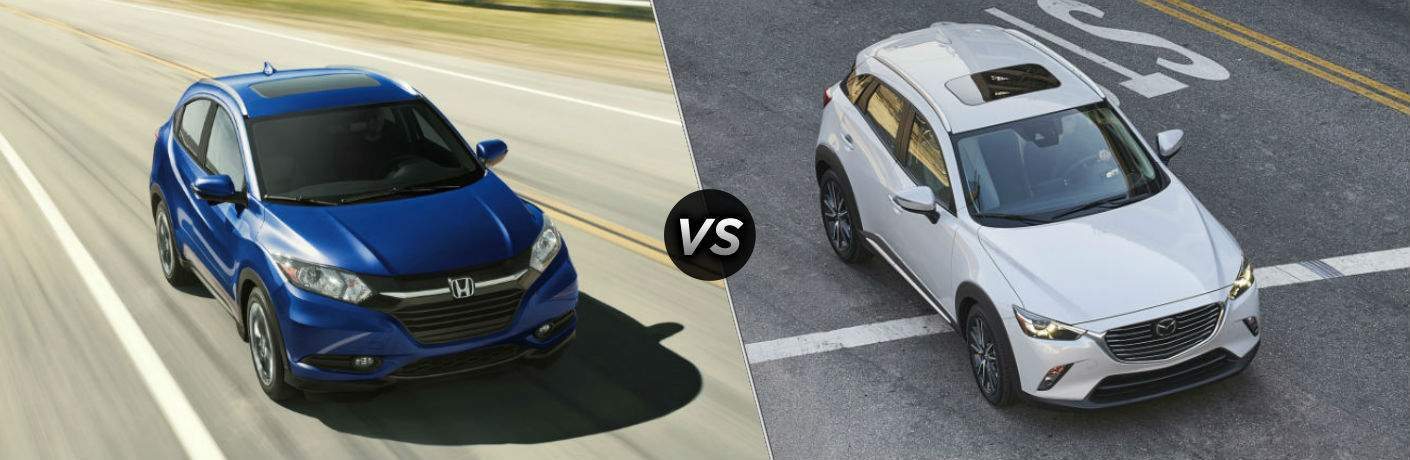 "Front exterior view of a blue 2018 Honda HR-V on the left ""vs"" front exterior view of a white Mazda CX-3 on the right"