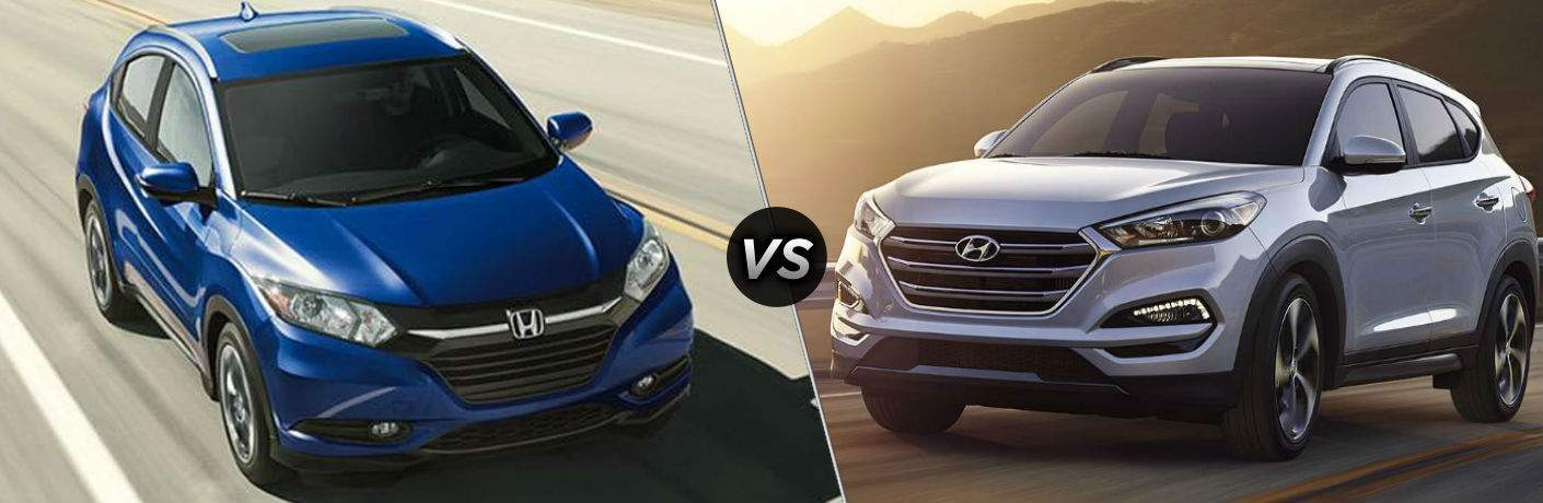 """Front exterior view of a blue 2018 Honda HR-V on the left """"vs"""" Front exterior view of a gray 2018 Hyundai Tucson on the right"""