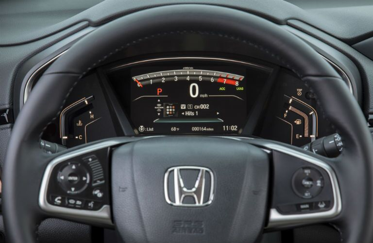 Steering wheel mounted controls and driver information center of the 2018 Honda CR-V
