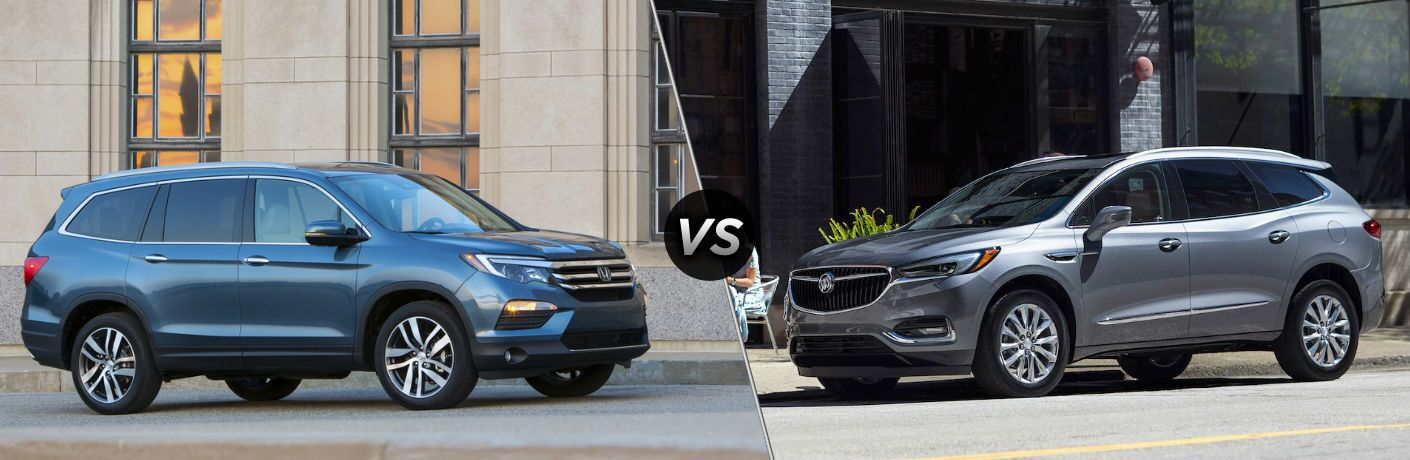 "Passenger side exterior view of a blue 2018 Honda Pilot on the left ""vs"" a driver side exterior view of a gray 2018 Buick Enclave on the right"