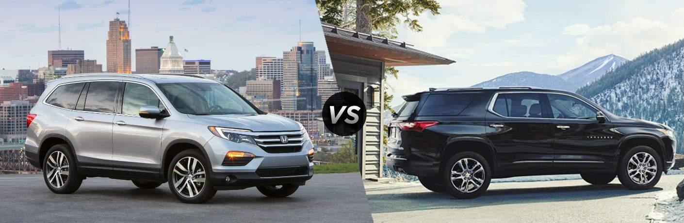 "Passenger side exterior view of a gray 2018 Honda Pilot on the left ""vs"" Passenger side exterior view of a black 2018 Chevrolet Traverse"