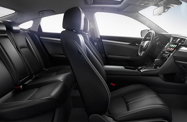 Side view of the two rows of seating in the 2019 Honda Civic Sedan