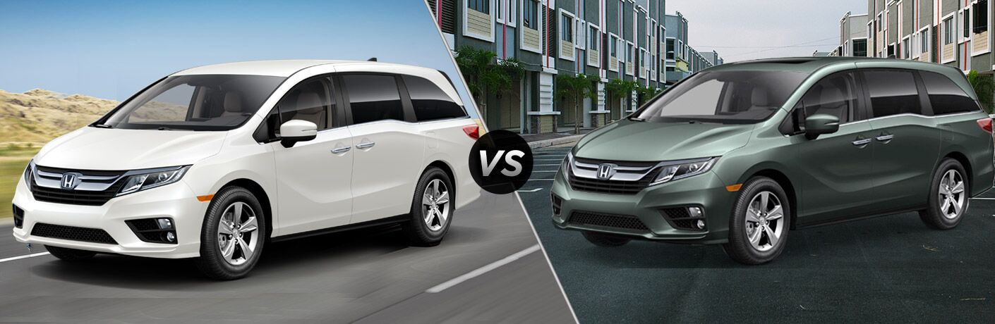 "Passenger side exterior view of a gray 2019 Honda Odyssey EX on the left ""vs"" driver side exterior view of a red 2019 Honda Odyssey EX-L on the right"