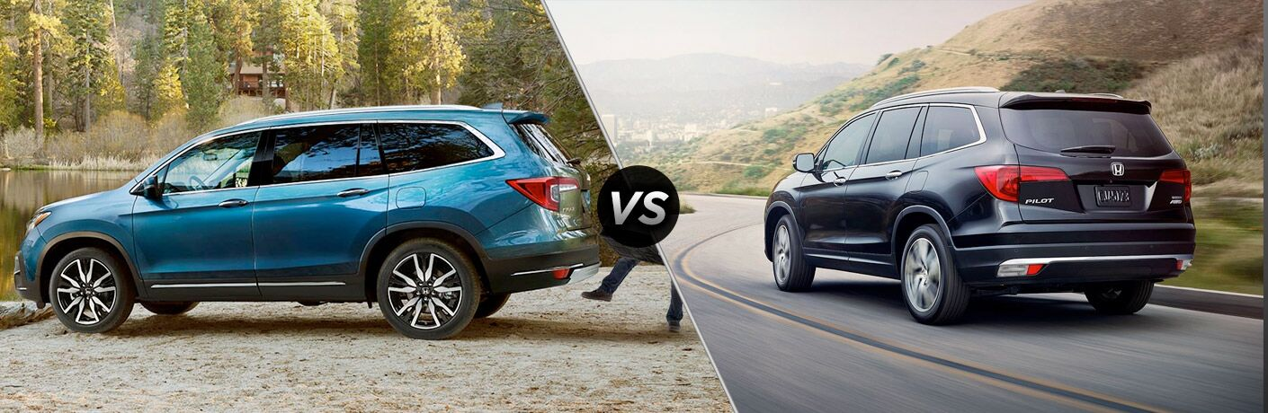 "Passenger side exterior view of a blue 2019 Honda Pilot on the left ""vs"" rear exterior view of a black 2018 Honda Pilot on the right"