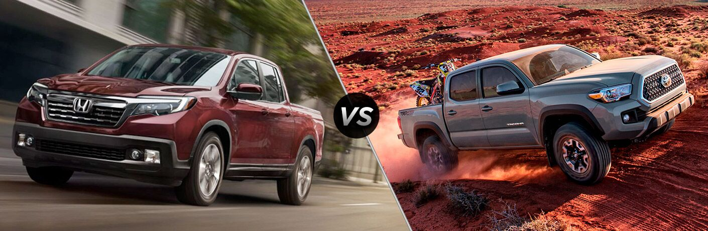 "Front exterior view of a red 2019 Honda Ridgeline on the left ""vs"" passenger side exterior view of a gray 2018 Toyota Tacoma on the right"