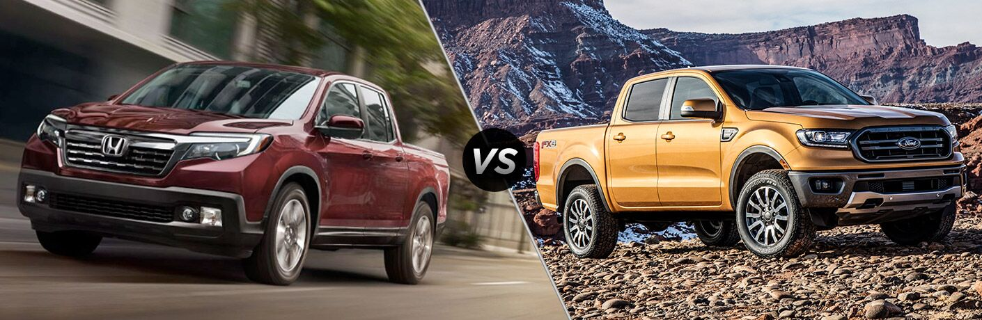 "Front driver side exterior view of a red 2019 Honda Ridgeline on the left ""vs"" front passenger side exterior view of a yellow 2019 Ford Ranger on the right"
