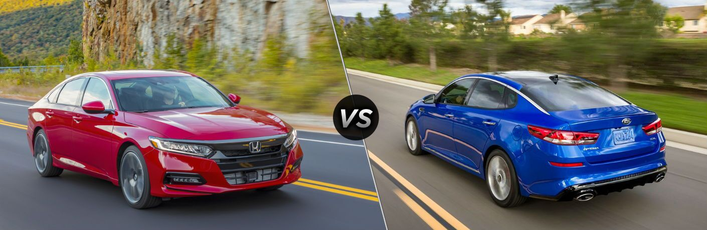 "Passenger side exterior view of a red 2019 Honda Accord Sedan on the left ""vs"" rear driver side exterior view of a blue 2019 Kia Optima on the right"