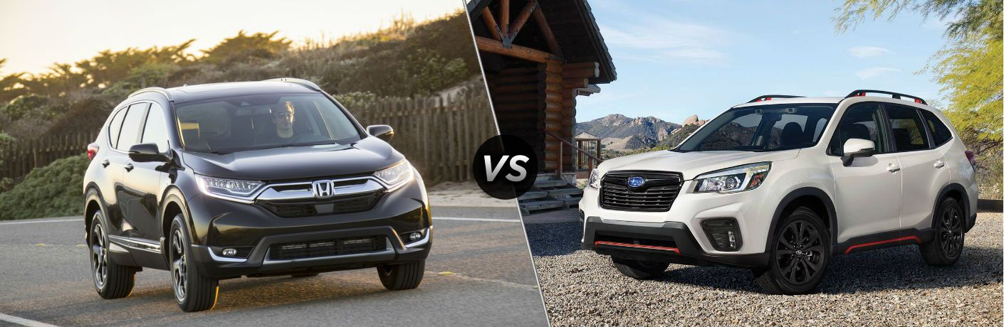 "Front passenger side exterior view of a gray 2019 Honda CR-V on the left ""vs"" driver side passenger side exterior view of a white 2019 Subaru Forester on the right"