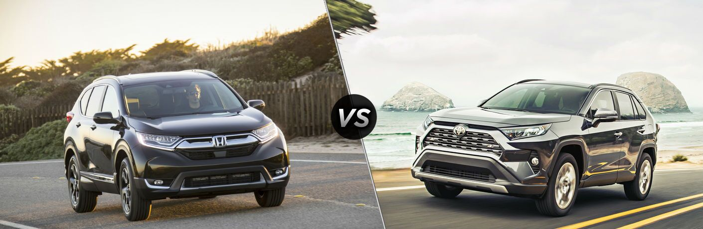 "Front exterior view of a black 2019 Honda CR-V on the left ""vs"" front driver side exterior view of a black 2019 Toyota Rav4 on the right"
