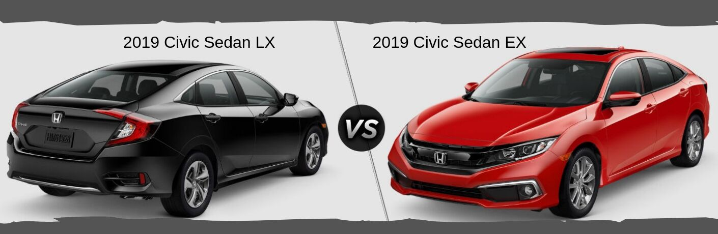 "Rear passenger side exterior view of a black 2019 Honda Civic Sedan LX on the left ""vs"" front driver side exterior view of a red 2019 Honda Civic Sedan EX on the right"