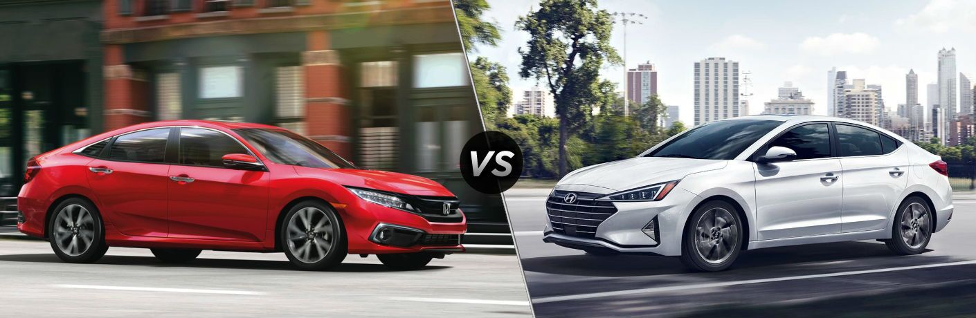 "Passenger side exterior view of a red 2019 Honda Civic Sedan on the left ""vs"" driver side exterior view of a white 2019 Hyundai Elantra"