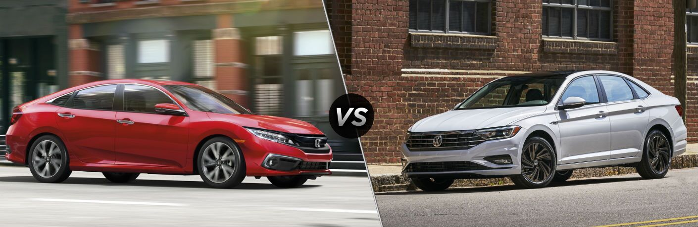 "Passenger side exterior view of a red 2019 Honda Civic Sedan on the left ""vs"" driver side exterior view of a gray 2019 VW Jetta on the right"