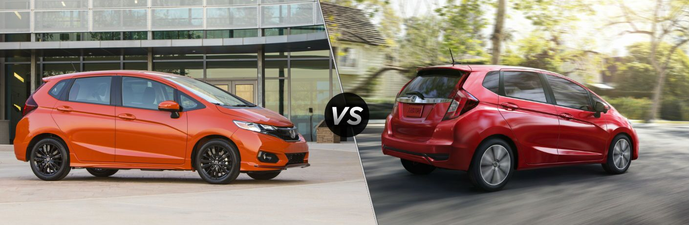 "Passenger side exterior view of an orange 2019 Honda Fit on the left ""vs"" passenger side exterior view of a red 2018 Honda Fit on the right"