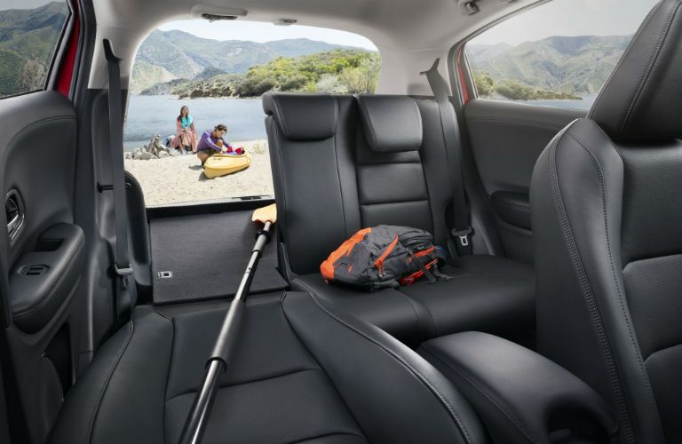 Half of the rear seat folded flat for storage in the 2019 Honda HR-V