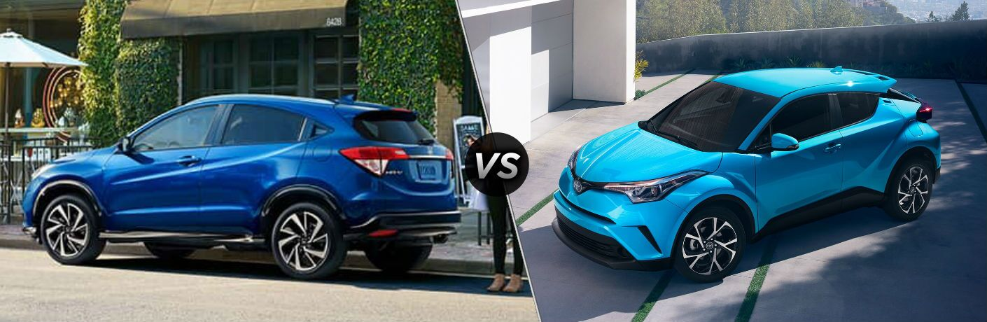 "Driver side exterior view of a blue 2019 Honda HR-V on the left ""vs"" driver side exterior view of a blue 2019 Toyota C-HR on the right"