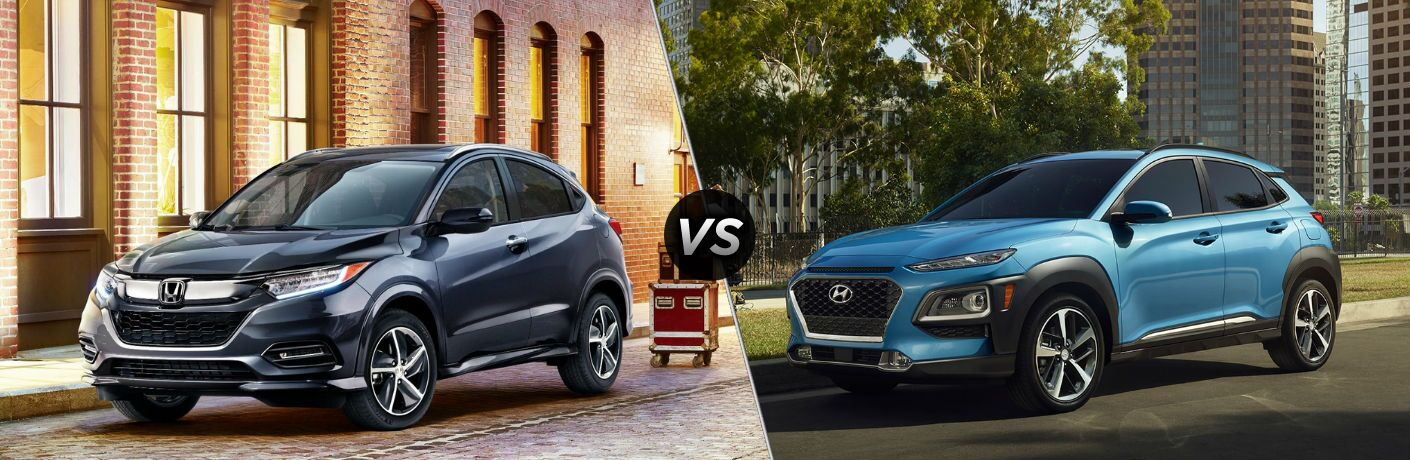 "Front driver side exterior view of a gray 2019 Honda HR-V on the left ""vs"" front driver side exterior image of a 2019 Hyundai Kona on the right"