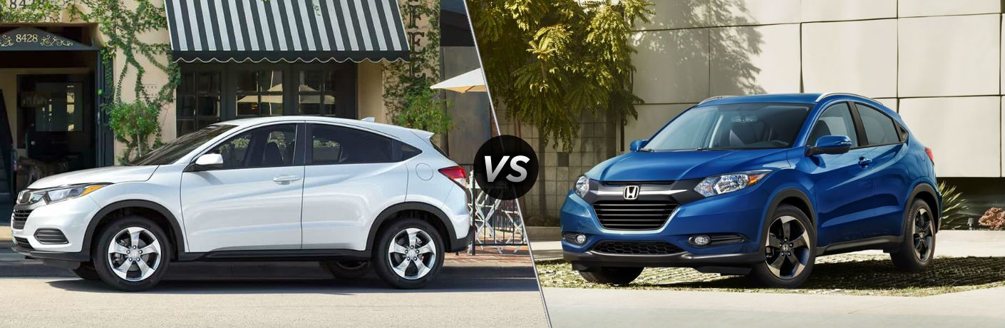 "Driver side exterior view of a white 2019 Honda HR-v on the left ""vs"" front driver side exterior view of a blue 2018 Honda HR-V on the right"