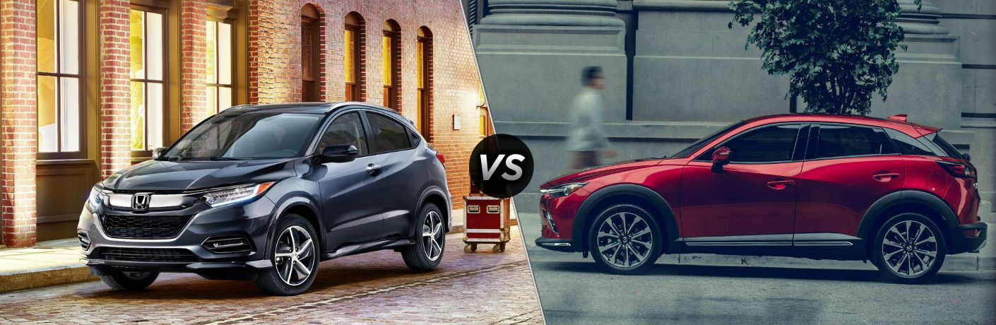 "Driver side exterior view of a gray 2019 Honda HR-V on the left ""vs"" driver side exterior view of a red 2019 Mazda CX-3 on the right"