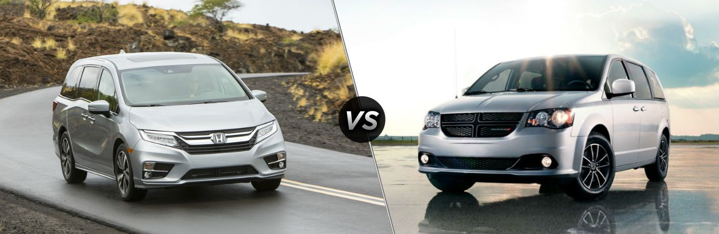 "Front exterior view of a gray 2019 Honda Odyssey on the left ""vs"" front exterior view of a gray 2019 Dodge Grand Caravan on the right"