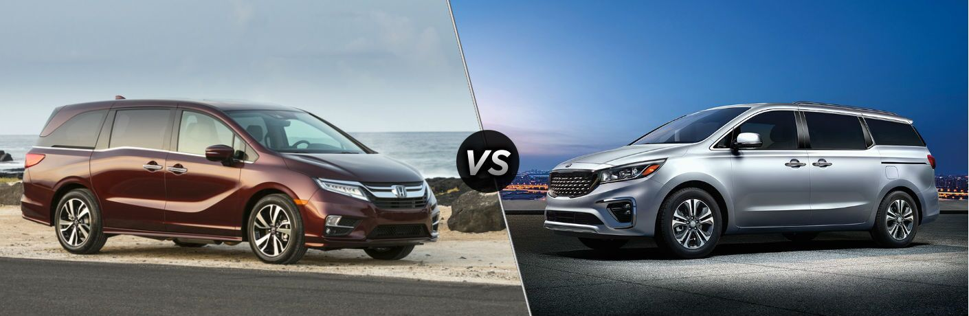 "Passenger side exterior view of a red 2019 Honda Odyssey on the left ""vs"" driver side exterior view of a gray 2019 Kia Sedona"