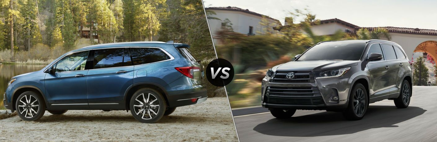 "Driver side exterior view of a blue 2019 Honda Pilot on the left ""vs"" driver side exterior view of a gray 2019 Toyota Highlander on the right"