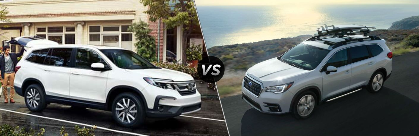 "Passenger side exterior view of a white 2019 Honda Pilot on the left ""vs"" driver side exterior view of a white 2019 Subaru Ascent on the right"