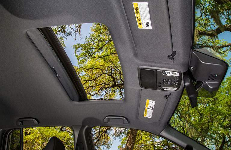 Looking out the sunroof of the 2018 Honda Ridgeline