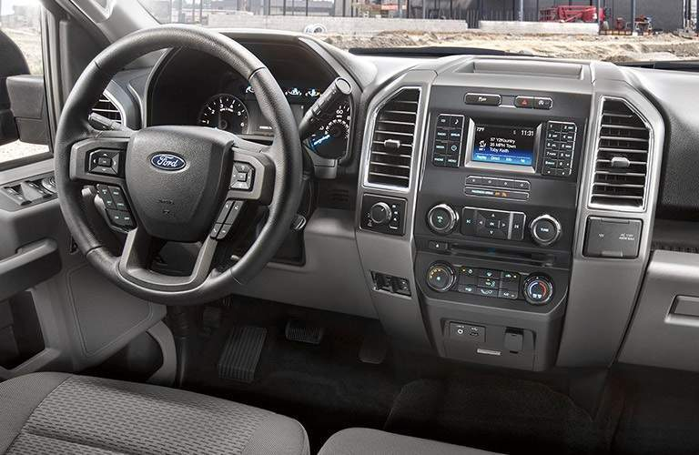 steering wheel and infotainment system of the 2017 Ford F-150