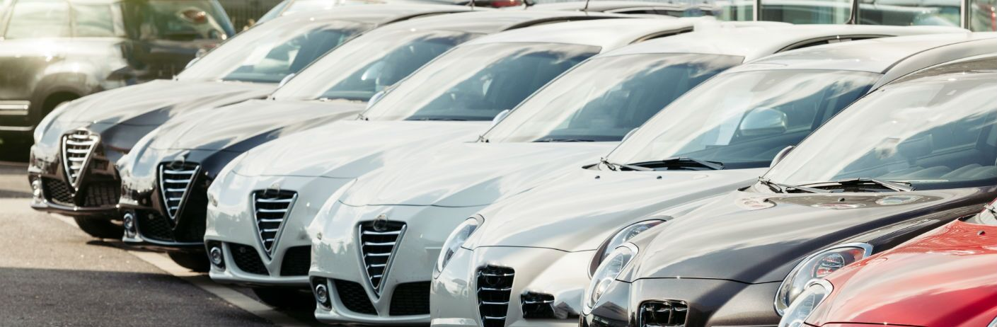 vehicles on the lot at a dealership