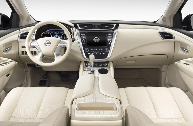 2016 Nissan Murano Interior View of Steering Wheel and Dashboard in White