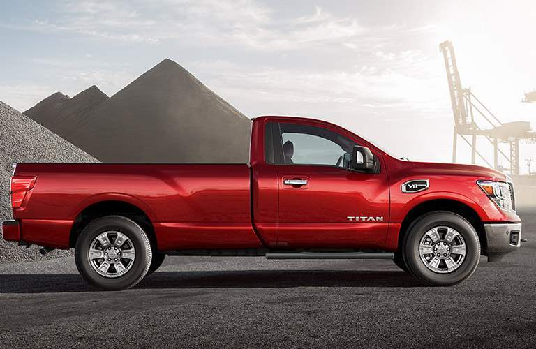2018 Nissan Titan side view in red