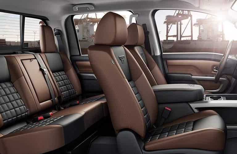 Nissan Titan interior in brown leather-trim
